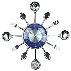 Wall Clock, Timelike 18 Metal Kitchen Cutlery Utensil Spoon Fork Wall Clock Creative Modern Home Decor Antique Style Wall Watch (Blue)