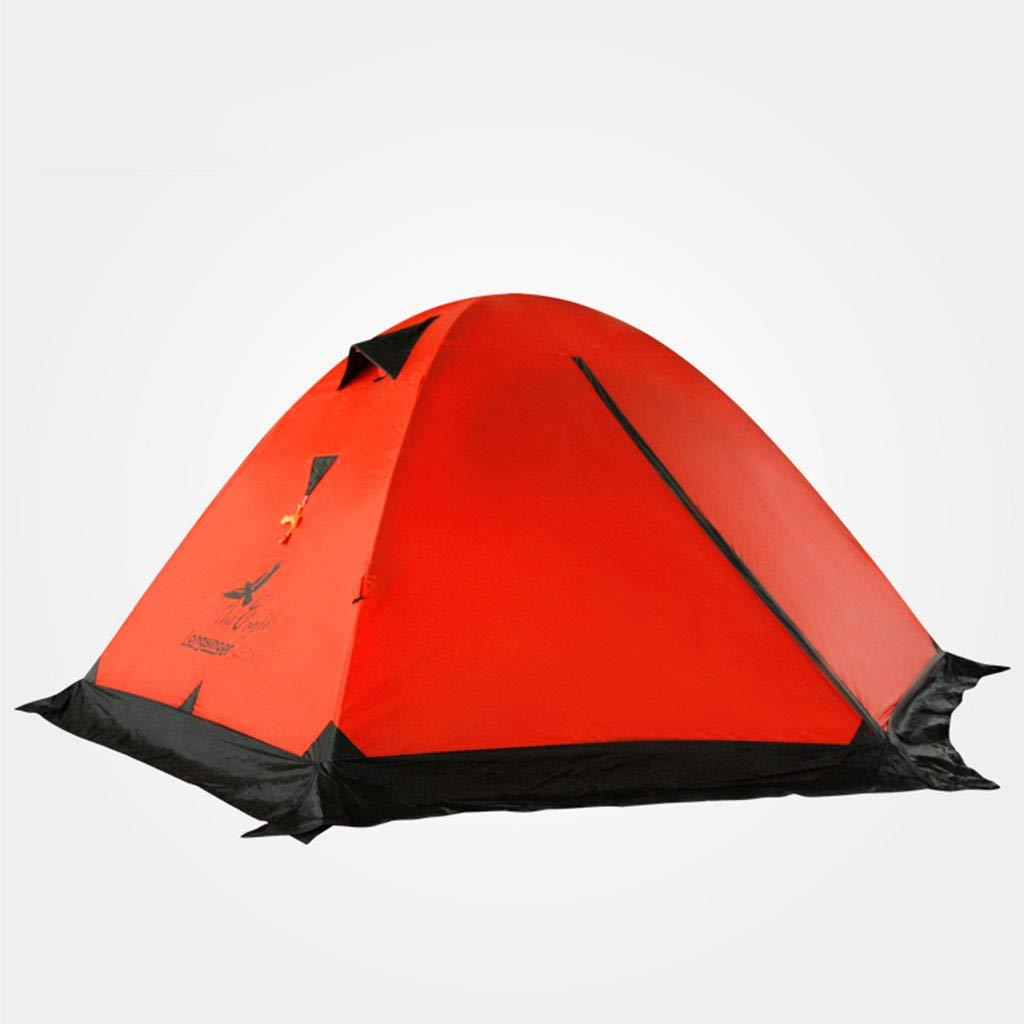 超軽量ダブルダブルアルミポール屋外キャンプスノーマウンテンコーティングシリコンテントウィンターテント(レッド)   B07P8QCPH9