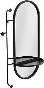 "BIKARSOUL Wall Oval Mirror with Shelf and Hooks Modern Metal Black Framed Wall Mirror for Entryway Bathroom Living Room Decor 21.5"" 6.10"" 32.7"""