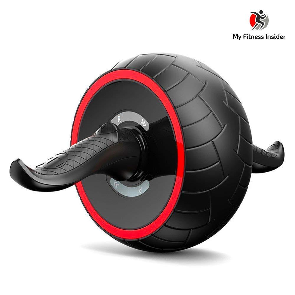 My Fitness Insider–Rueda de Entrenamiento Abdominal, AB Wheel, AB Roller, Ejercicios Abdominales Pesas, Abdominales con Alfombra Grueso para Rodilla + electrónico Programa Abdominales Completo