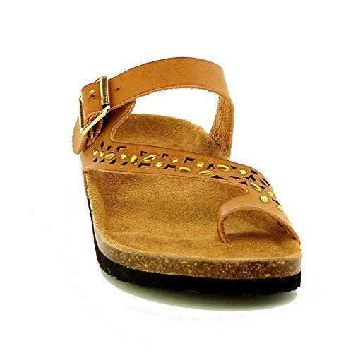 Cork Footbed Sandals (WestCoast Women's Cutout Rhinestone Leo-07 Sandals tan8h)
