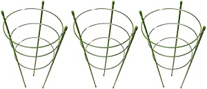 Povkeever Garden Plant Support Ring,Flower Iron Support Climbing Plant Grow Cage Size 3set 45cm/18inch