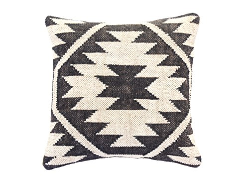 Jewel Fab Art Indian Jute Cushion Handloomed Handwoven Pillow Cover Throw Case in Black & Cream Set of 2 ()