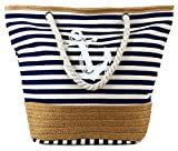 PULAMA Womens Large Beach Tote Canvas Shoulder Bag Striped Anchor Summer Handbag Top Handle Bag Straw Beach Bag Navy Blue Anchor