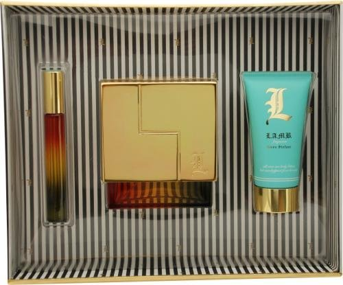 L Lamb By Gwen Stefani For Women Eau De Parfum Spray 3.4 Oz & Body Lotion 2.5 Oz & Eau De Parfum Rollerball .21 Oz Mini by L.A.M.B. (Stefani Collection)