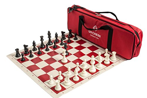 (US Chess Federation Supreme Triple Weighted Chess Set Combo - Red)