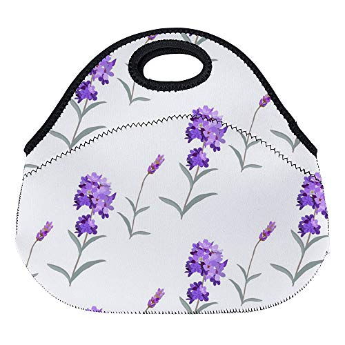 DKISEE Lavanda Lavender Pattern Large & Thick Neoprene Lunch Bags Insulated Lunch Tote Bags Cooler Warm Warm Pouch with Shoulder Strap for Women Teens Girls Kids Adults (Strap Opus)