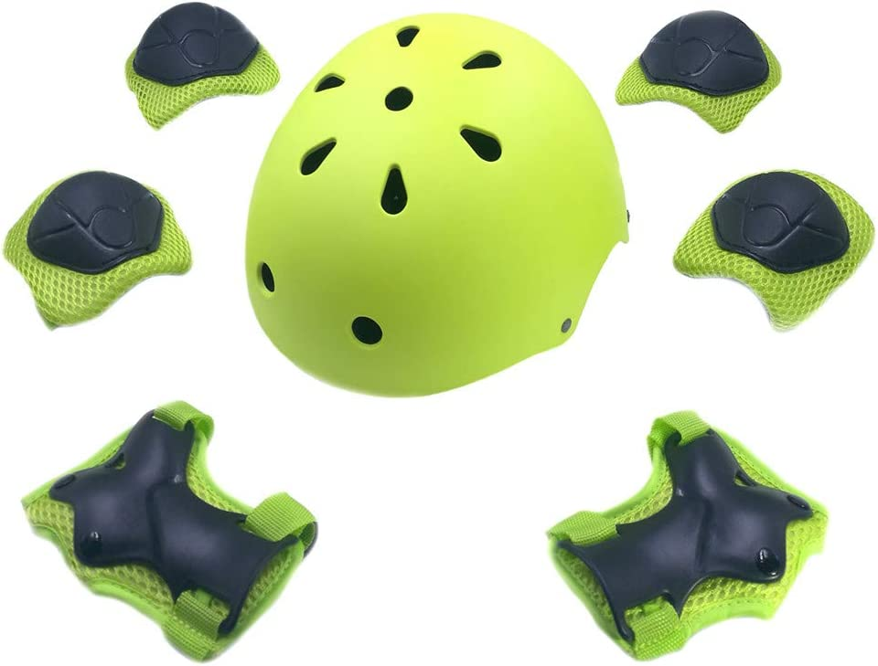Adjustable Helmet Cycling Roller Skateboard Elbow Knee Pads Wrist Safety Protective Guard Gear Set for Children Aged 3-8 Years Old