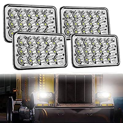 4x6 LED Headlight Sealed Beam 4PCS, AAIWA 45W Headlight Replacement Conversion Kit for Kenworth KW 900 Peterbilt 379 H4651 H4666 H4656 H6545 Ford Truck Chevy K10 K20 Van RV Camper Headlamp Assembly: Automotive