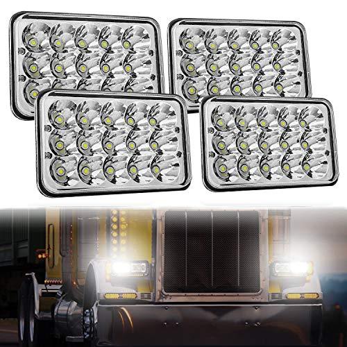 4x6 LED Headlight Sealed Beam 4PCS, AAIWA 45W Headlight Replacement Conversion Kit for Kenworth KW 900 Peterbilt 379 H4651 H4666 H4656 H6545 Ford Truck Chevy K10 K20 Van RV Camper Headlamp Assembly