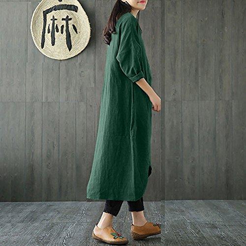 Baggy Unie Vintage Femmes Maxi Moonuy Arme Longues Manches Long Coton et Verte Boho Rtro Manches Tunique Couleur Dress Robe Lin Decontracte Tunique 3 4 Grande Taille en Plus Taille Style rTEnwqfwY5