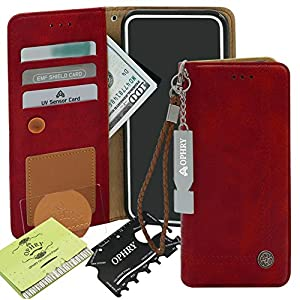 Apple iPhone 7 Plus, iPhone 8 Plus Case [Free 9 Gifts] Trim LINE Flip Diary Cover Slim Wallet Design [Octopus Ver.] – Card Holder, Cash Slots, Kickstand, Hand Strap & Message Pad (Burgundy Red)