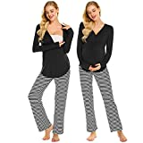 MAXMODA Womens Maternity Nursing Top and Striped Pants Long Sleeve PJS Nightgown Breastfeeding Set (Black Striped XL)