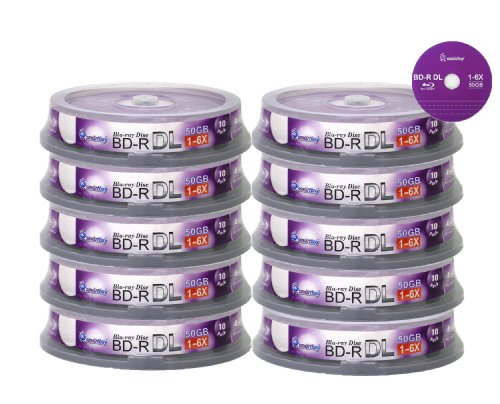 Smartbuy 100-disc 50gb 6x Blu-ray Bd-r Dl Dual Layer Double Layer Logo Top Surface Blank Data Video Recordable Media Disc with Cakebox/spindle Packing by Smartbuy
