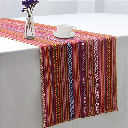 GFCC Set of 5 Mexican Serape Tablerunner Mexican Blanket Table Runners Mexican Themed Party Supplies - 14