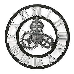 Adeco Clock 3D Retro Rustic Vintage Wooden Gear Noiseless Wall Clock, Wooden Decoration Roman Numerals-Silver, 15X15