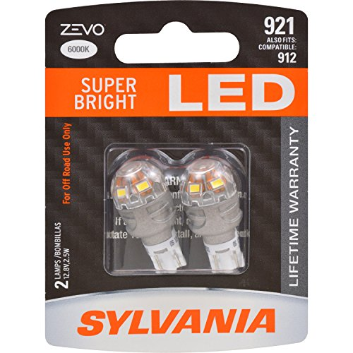 SYLVANIA ZEVO 921 T-16 W16W White LED Bulb, (Contains 2 Bulbs)