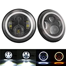 7 Inch Round Cree LED Headlights White Halo Ring Angel Eyes+Amber Turning Signal Lights For Jeep Wrangler JK TJ CJ