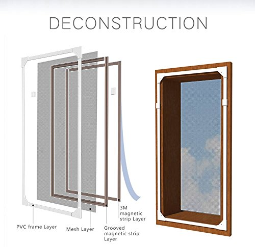 "Adjustable DIY Magnetic Window Screen Max 55""H x 36""W Fit..."