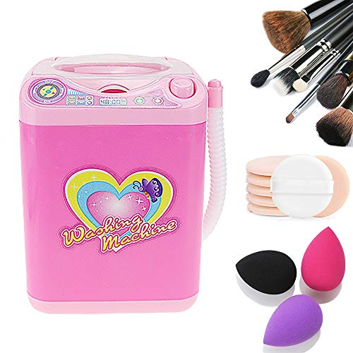 Mini Makeup Brush Cleaner Device Simulation Automatic Cleaning Washing Machine for Sponge and Powder Puff Toy (Pink)