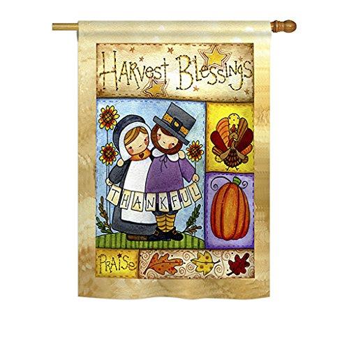 (Breeze Decor H113057 Thankful Pilgrims Fall Thanksgiving Decorative Vertical House Flag, 28