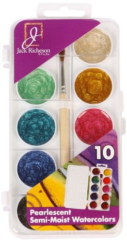 (Jack Richeson Student Semi Moist Pearl Watercolor with Brush, Set of 10)