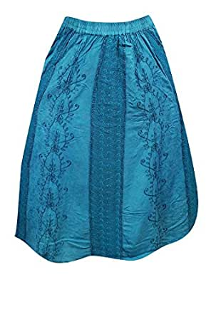 Womens Summer Beach Skirt FLAUNTING Floral Embroidered Rayon Long Skirts Medium/large (Sky Blue)
