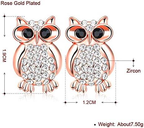 Gold plated crystal bling owl stud earrings