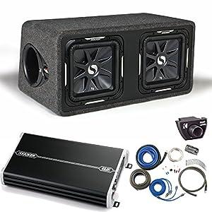 """Kicker 11DS12L72 Solobaric Dual 12"""" Box with 1500 Watt Kicker Amp,Kit,Bass Knob"""