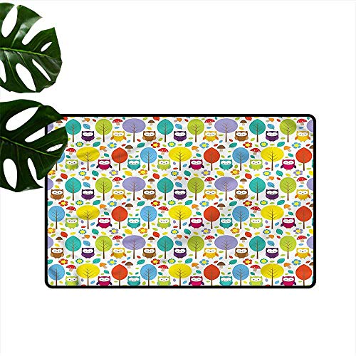 Fashion Door mat Nursery Colorful Forest Owls with Anti-Slip Support W35 xL59 ()