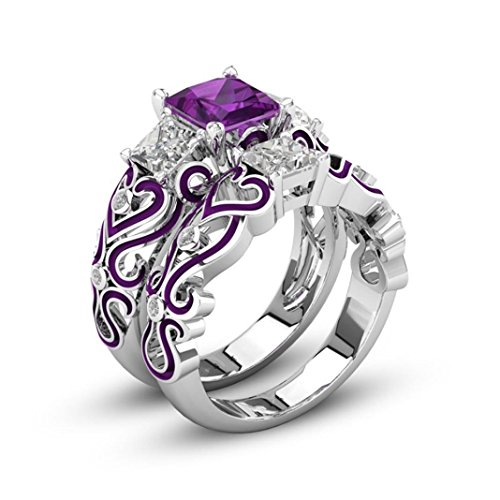 iLH® Clearance Rings,ZYooh Women 2-in-1 Jewel Ring Red Diamond Silver Engagement Wedding Band Heart Rings Bride Band (# 9, Purple)