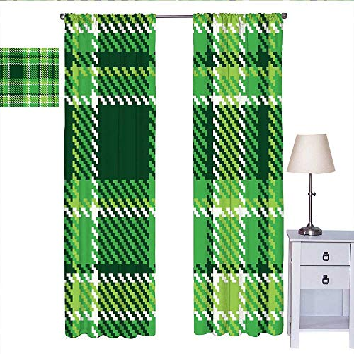 W Machine Sky Checkered Blackout Curtain Old Fashioned Irish British Tile Mosaic in Vibrant Green Colors Light Curtain Emerald Lime Green White W72 x L108