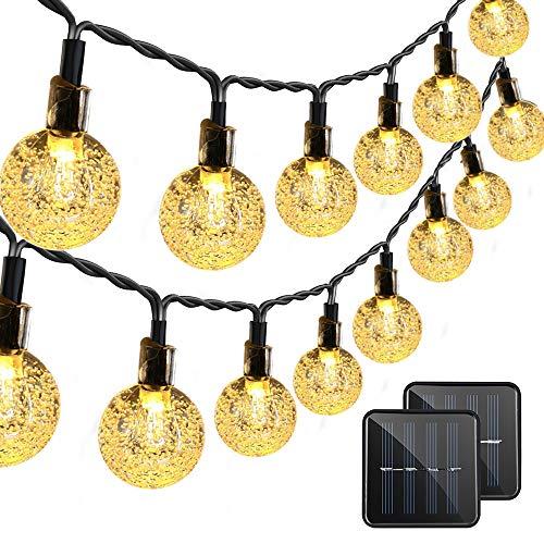 VMANOO Christmas Solar Powered Globe Lights,30 LED (19.7 Feet) Globe Ball Fairy String Light for Outdoor, Xmas Tree, Garden, Patio, Home, Lawn, Holiday,Decor, Waterproof, 2-Pack (Warm White) from VMANOO