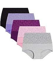 YaShaer Womens High Waist Cotton Briefs Underwear Tummy Control Panties (5 Pack)