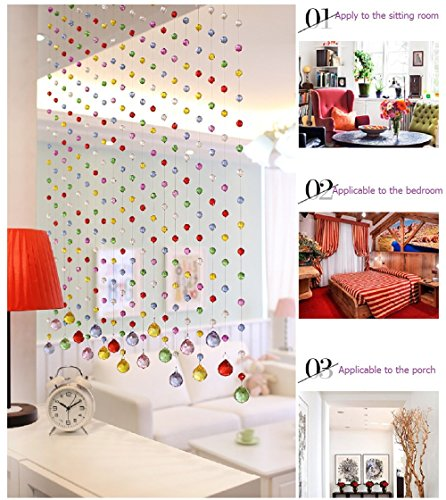 1 String 1ft Long Colorful Pineapple Crystal Beads Strands Doors Windows Curtain Can Be Customized Decoration Crystal Bead Curtain Porch Partition Home Lamp Wedding Christmas Party Decorations (Lights Christmas 1 Foot)