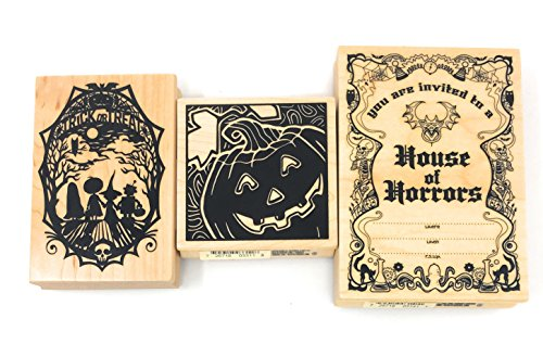 (Inkadinkado Halloween Wood Block Stamp Invitation Bundle (3)