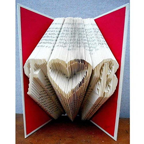 Personalized Hand Folded Book Art for Anniversary, Wedding, Valentines Day, 2 Initials w/Heart Design from Dreamscape Studio