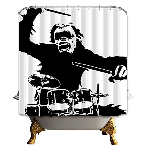(ZIXCOS Funny Shower Curtain, Gorilla Rampage Play Drum Set, Polyester Fabric Waterproof Bathroom Curtain, 69X70in, Shower Curtains Hooks Included)