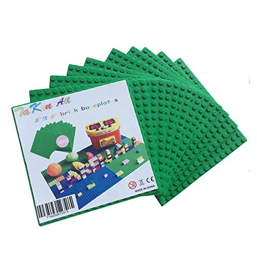 Extra Large Grey Base Plate (Building Brick for LEGO Base Plates- Green 10 Pack of 5
