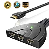 Hdmi Switch Splitter 3 In 1 out with High Speed Pigtail Cable Supports 1080P&3D, HD Audio (3 Port)