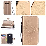 Samsung Galaxy J1 (2016) Case,EastESH Samsung Galaxy J1 (2016) Cover, Gold PU Leather Wallet Case Magnetic Closure Flip Case [Butterfly & Flower Embossed] Cover with Card Slots & Stand