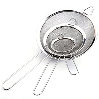 Fine Mesh Stainless Steel Strainers - Premium Quality - Set of 3 - Food Strainer & Sieve - Best for Kitchen Use - 5 Free Recipes