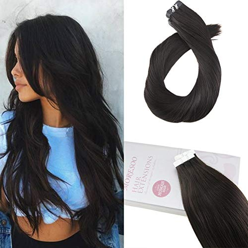 Moresoo 18 Inch PU Tape in Black Human Hair Extensions 100% Remy Human Hair Color Off Black #1B Seamless Skin Weft Tape in Hair Extensions Straight 20PCS 50G Per Pack (Hair Real Extensions 100 European)