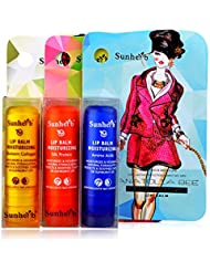 Sunherb Multi-functional essence repair lip balm 3 Pack 0.15oz–- With Silk Protein,Amino acis,Collagen (colorful)