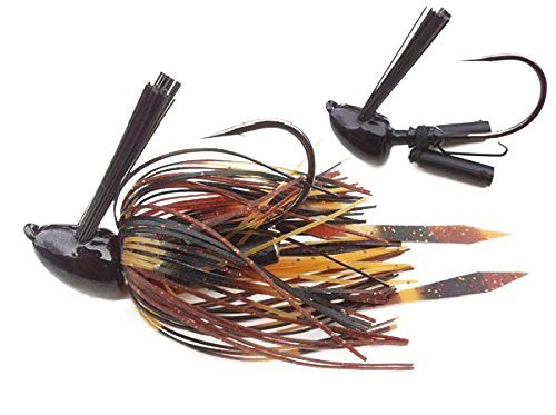 Heavy Mat Jig with Self-Righting Jig Head Fishing Lures to Bait Bass, Bluegill and More,  Craw/Black/Brown/Amber, 1/2 (Amber Bass)
