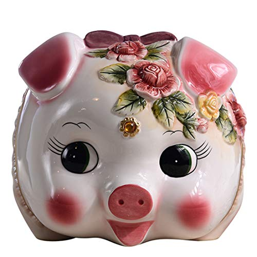 Flower Girl Piggy Bank - FORLONG FL2032 Ceramic Piggy Bank,Coin Bank,Money Box for Girls,Hand Painted Flower Pig Design (Large )