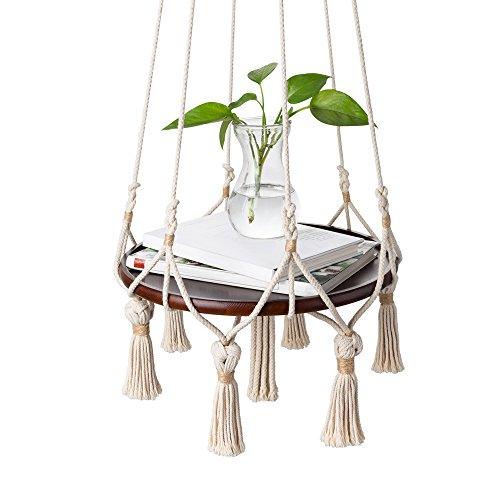 Mkono Hanging Shelf Macrame Plant Hanger Flower Pot Holder Boho Home Decor (with Wood Plate) by Mkono (Image #2)