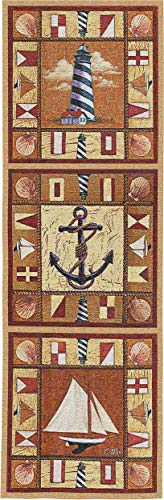 Harbor Icons by Geoff Allen | Woven Tapestry Wall Art Hanging | Vertical Nautical Panels Children's Room Decor | 100% Cotton USA Size 48x17 ()