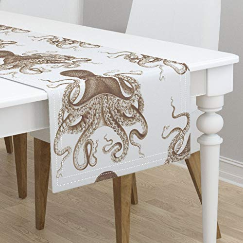 Table Runner - Octopus Octopus Oasis in Sepia Sepia Nautical Ocean Octopus Spa Ikat Brown by Willowlanetextiles - Cotton Sateen Table Runner 16 x ()