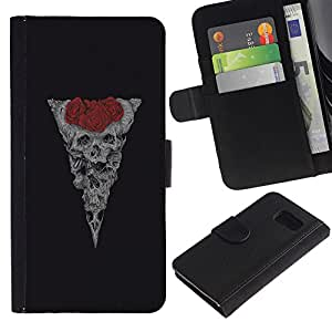 A-type (Cráneo floral de Rose Red Vignette Negro) Colorida Impresión Funda Cuero Monedero Caja Bolsa Cubierta Caja Piel Card Slots Para Samsung Galaxy S6